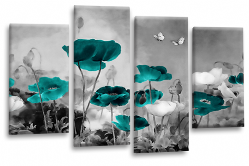 CHINESE FLORAL FLOWER SPLIT MULTI 4 PANEL TEAL GREY PICTURE